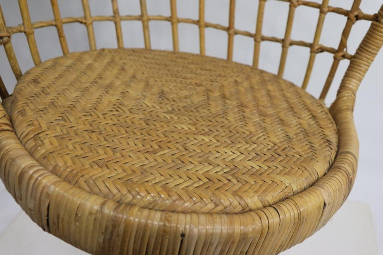 Hanging Wicker Pod Chair with Original Metal Stand For Sale 2