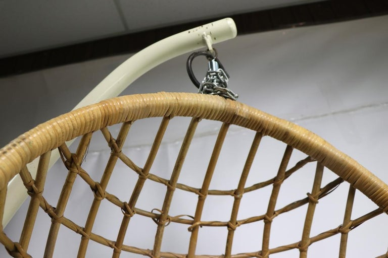 Hanging Wicker Pod Chair with Original Metal Stand For Sale 3