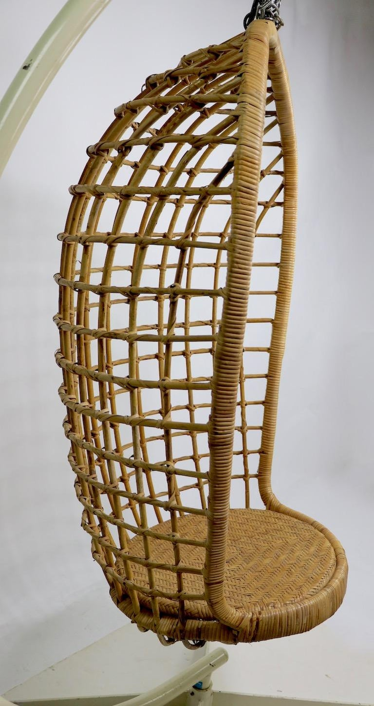 Hanging Wicker Pod Chair with Original Metal Stand For Sale 6