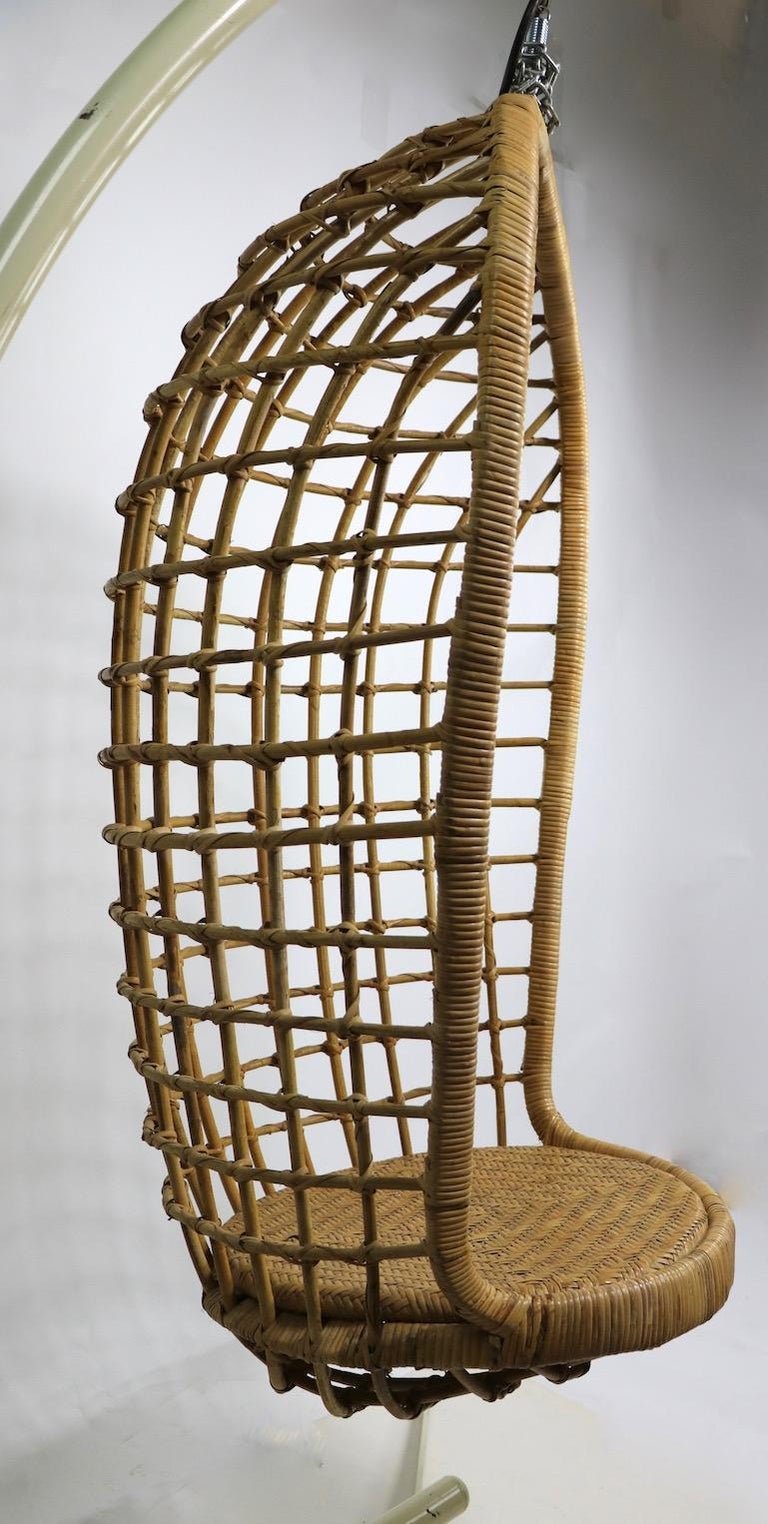 Hanging Wicker Pod Chair with Original Metal Stand For Sale 7