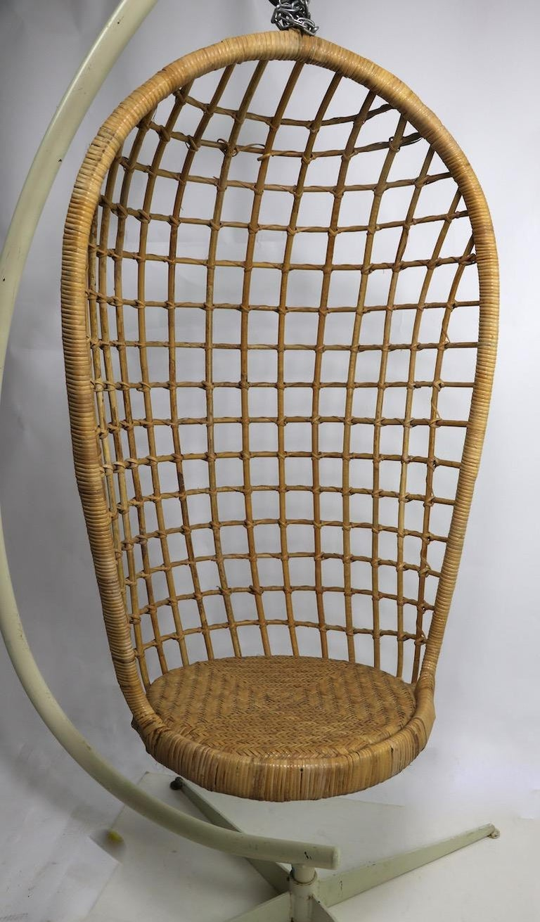 Hanging Wicker Pod Chair with Original Metal Stand For Sale 8