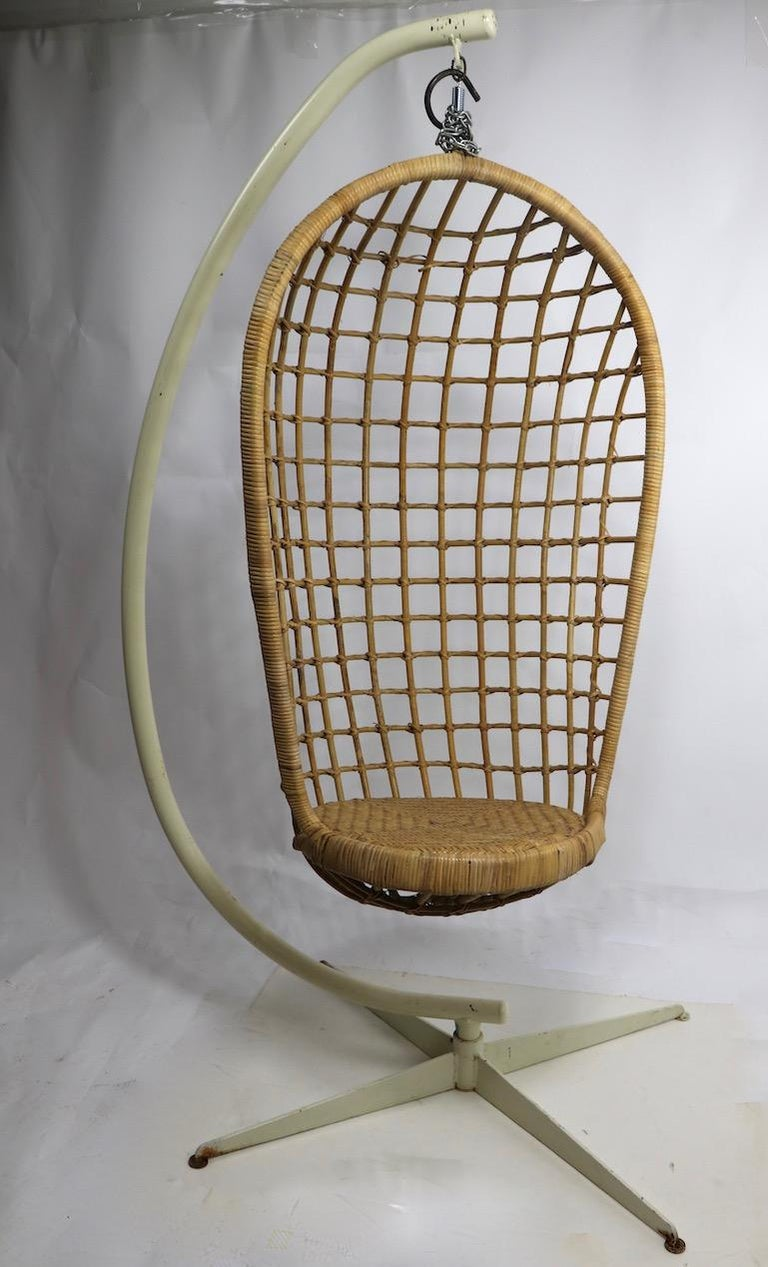 Hanging Wicker Pod Chair with Original Metal Stand For Sale 9