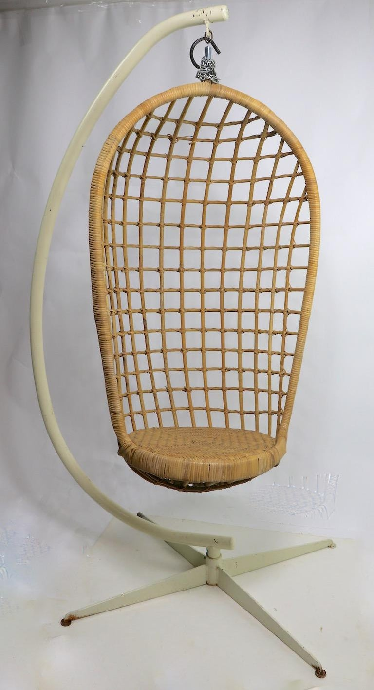 American Hanging Wicker Pod Chair with Original Metal Stand For Sale