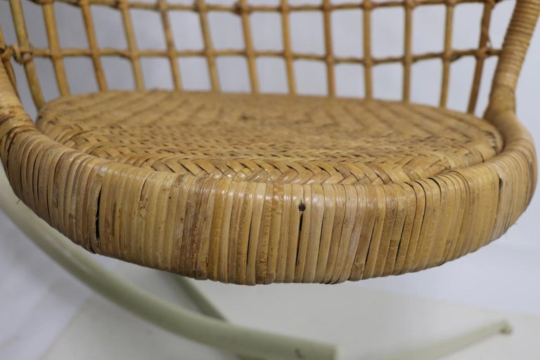 Hanging Wicker Pod Chair with Original Metal Stand For Sale 1