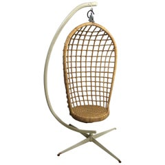 Hanging Wicker Pod Chair with Original Metal Stand