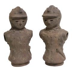 Haniwa Style Figures Unglazed Terracotta, a Set of Two