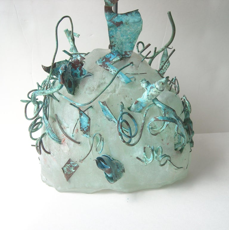 Very nice and unusual glass / copper, fused with green patina studio sculpture. Dated 1985 signed. Has a very pretty enamel metal bird, and what it looks like a cloud in sky.