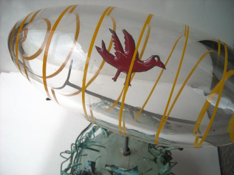 Post-Modern Hank Murta Adams, Fused, Glass/Copper Studio Sculpture,