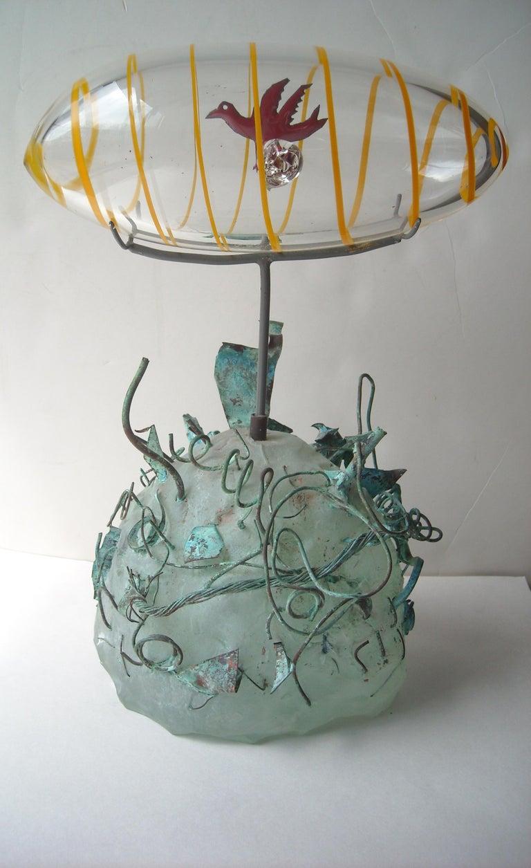Hand-Crafted Hank Murta Adams, Fused, Glass/Copper Studio Sculpture,