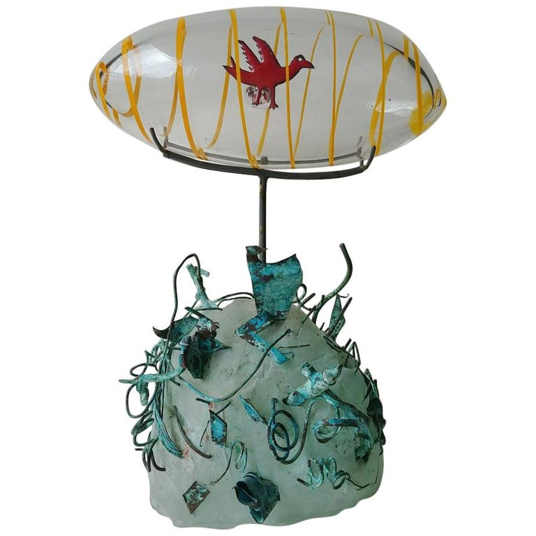 "Hank Murta Adams, Fused, Glass/Copper Studio Sculpture,""Bird"" Signed Dated For Sale"