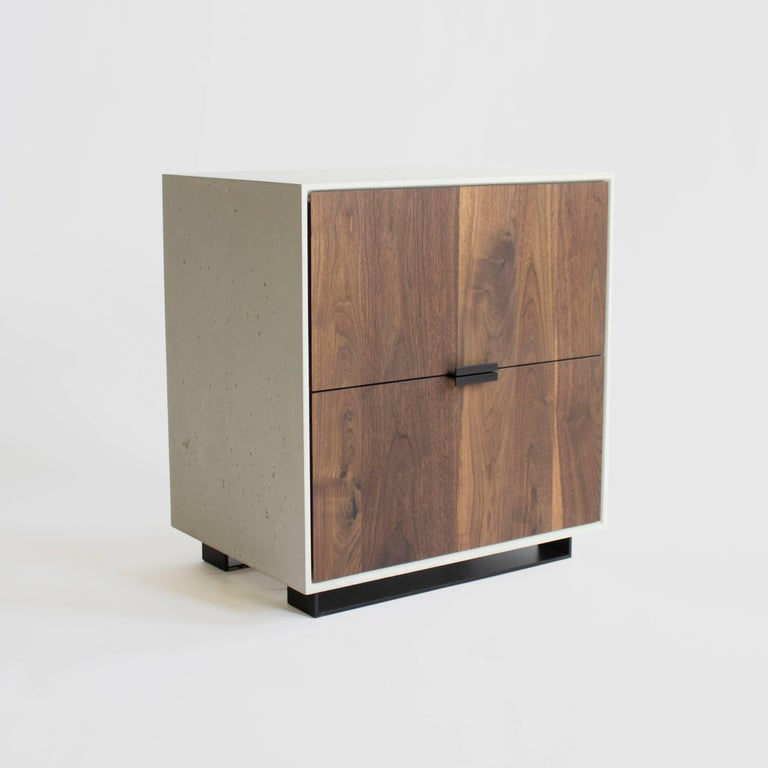 Blackened Hanks Concrete, Cement Side Table and Nightstand For Sale
