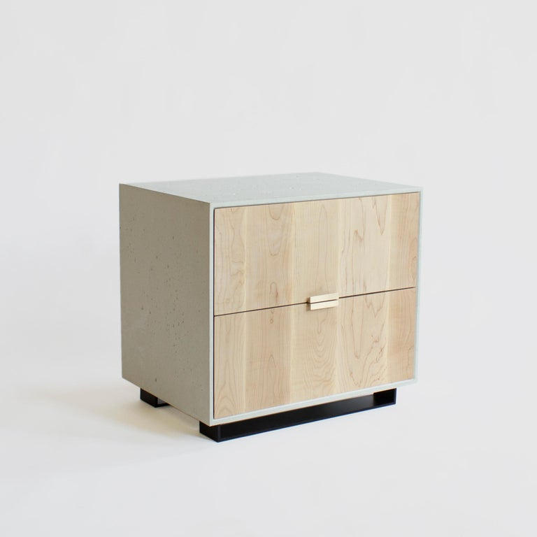 Brass Hanks Concrete, Cement Side Table and Nightstand For Sale