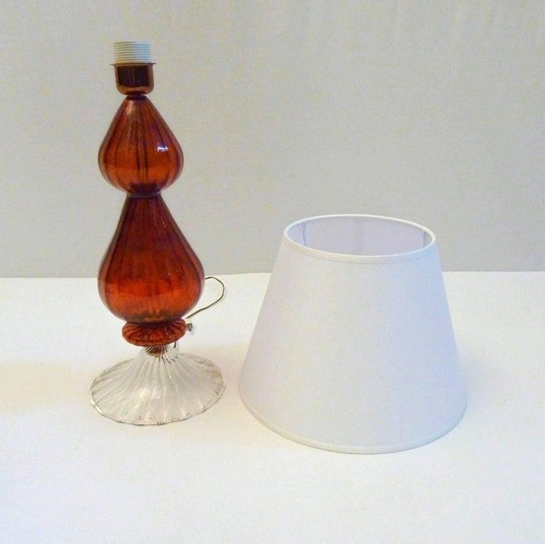 Handmade Murano Glass Table Lamp Made in Italy In Excellent Condition For Sale In Albano Laziale, Rome/Lazio
