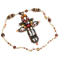 Hanna Bernhard Massive Cross Pendant Necklace Haute Couture One Of A Kind Paris