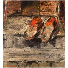 Hanna Brundin, Sweden, Oil on Canvas, Slippers on a Staircase