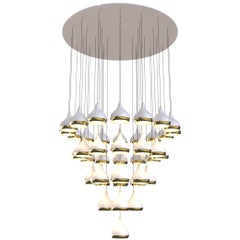 Hanna Ceiling Light in Brass and Aluminum with Teardrop Shades