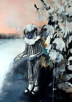 Boy in the Garden - Contemporary Expressionism Painting, Male, Boy Portrait