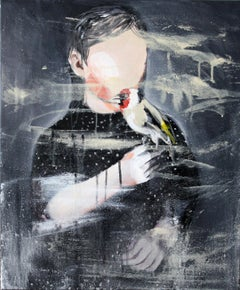 Boy with the Goldfinch - Contemporary Figurative Painting, Boy Portrait