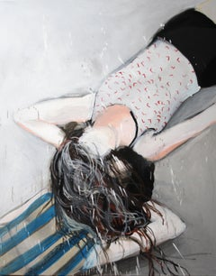 Laying I - Expressionism, Contemporary Figurative Painting, Female Portrait