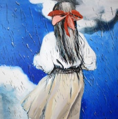 Rain - Contemporary Figurative Painting, Girl Portrait, Expression, Romantic