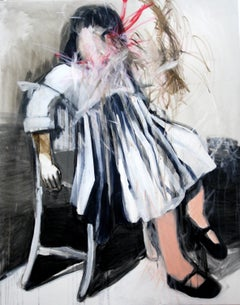 Sitting Girl - Contemporary Expressionism Painting, Female, Girl Portrait