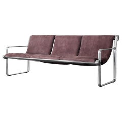 Hannah and Morrison Aluminum Sofa for Knoll, Three-Seat Sling Couch, 1970s
