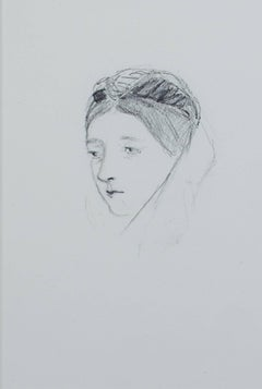 """Portrait of a Woman,"" Pencil on Paper by Hannah de Rothschild"