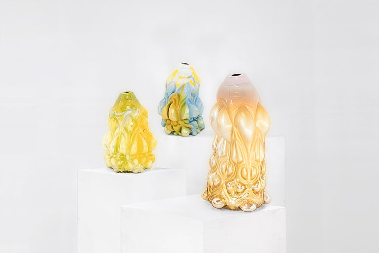 """Hannah Hansdotter Vase model """"Incommodious Print"""" Manufactured by Hannah Hansdotter Produced in exclusive for Side Gallery Sweden, 2020 Pale pink and yellow hand blown glass  Measurements: 33 cm diameter x 63 cm height 12.99 in diameter x"""