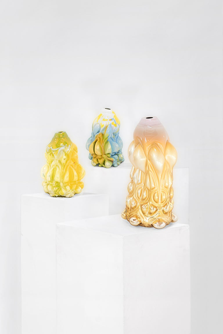 """Swedish Hannah Hansdotter """"Incommodious Print"""", Pale Yellow Hand Blown Glass Vase, 2020 For Sale"""