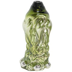 "Hannah Hansdotter ""Incommodious Print"", Vibrant Green Hand Blown Glass Vase 2020"