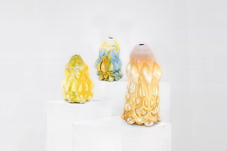 "Swedish Hannah Hansdotter ""Stucco Print"" Bright Yellow/Green Hand Blown Glass Vase, 2020 For Sale"