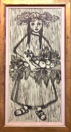 Unique Woodcut Print Girl with Flowers Monoprint Israeli Dutch Woman Artist
