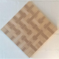 Grid 10x10 diamond - contemporary abstract geometric wood veneer painting object