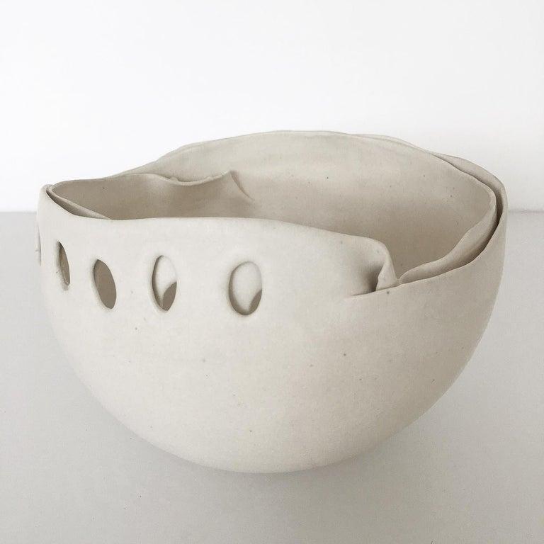 Organic Modern Hannelore Fasciszewski Sculptural Porcelain Bowl For Sale