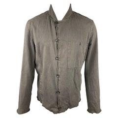 HANNES ROETHER Size L Grey Cotton Distressed Hem Jacket