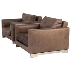 Hannes Wettstein 'reversi' Leather Design Fauteuil for Molteni & C Set/2