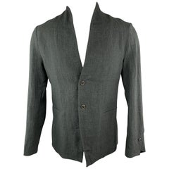 HANNIBAL Size 36 Charcoal Linen Shawl Collar Asymmetrial Jacket