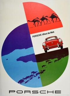 Original Vintage Poster Porsche 356 Sports Car Opens The World Offnet Die Welt
