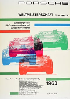 Original Vintage Poster Porsche World Championship 1963 Auto Racing Rally Trophy