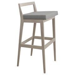 Hanoi Ashwood and Wool Upholstery Tall Stool