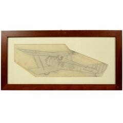 Pencil drawing depicting a Hanriot HD 1 WWI Aircraft