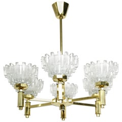 Swedish Brass Chandelier Crystal Glass Shades, Sweden, 1960