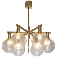 Hans-Agne Jakobsson 'Pastoral' Chandelier in Glass and Brass