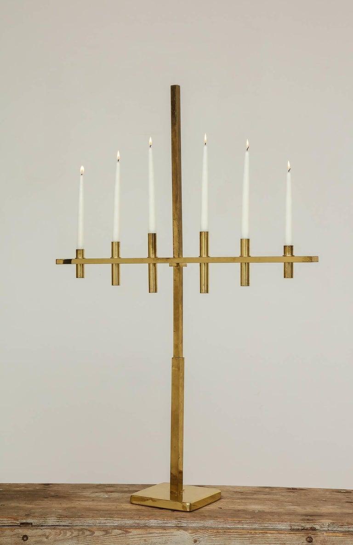 Brass Hans Agne Jakobssen, Exceptional Six-Arm Candelabra, Origin Sweden For Sale