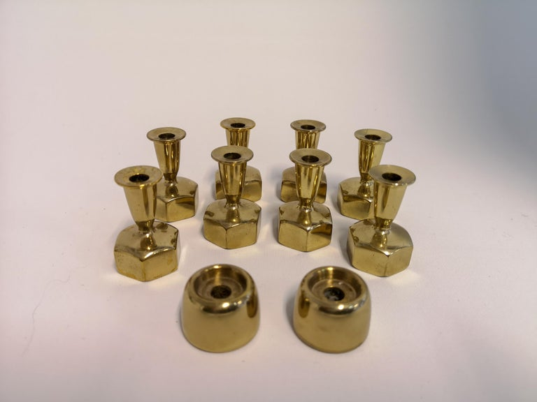 Mid-20th Century Hans Agne Jakobsson, 10 Candlesticks in Brass, 1960s, Sweden For Sale