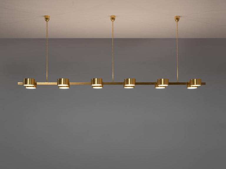 Scandinavian Modern Hans Agne Jakobsson Chandelier with twelve Shades in Brass For Sale