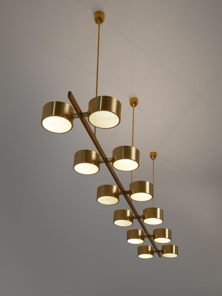 Swedish Hans Agne Jakobsson Chandelier with twelve Shades in Brass For Sale