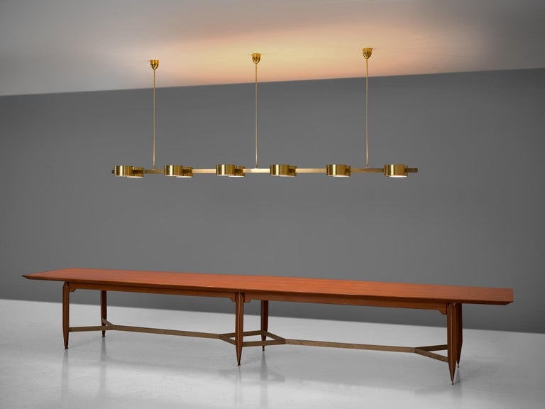 Hans Agne Jakobsson Chandelier with twelve Shades in Brass For Sale 2