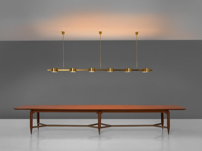 Hans Agne Jakobsson Chandelier with twelve Shades in Brass For Sale 3