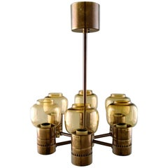 Hans Agne Jakobsson, Six-Armed Electric Chandelier in Brass